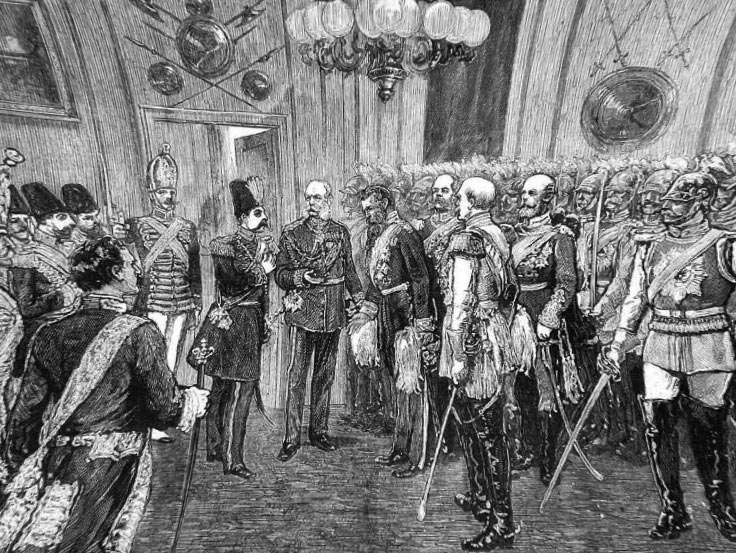 A Full page from the Illustrated 1873 London News, an illustrated weekly newspaper weeks date as shown on top of page, Naser al-Din Shah Qajar, Shah of Persia in Berlin with Germany Emperor William I
